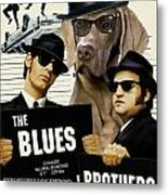 Weimaraner Art Canvas Print - The Blues Brothers Movie Poster Metal Print