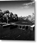 weir on the river corrib at Kings Gap Galway city county Galway Republic of Ireland Metal Print