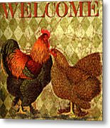Welcome Rooster-61412 Metal Print