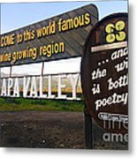 Welcome Sign To Napa Valley Metal Print