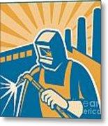 Welder Welding Factory Retro Woodcut Metal Print