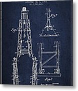 Well Drilling Apparatus Patent From 1960 - Navy Blue Metal Print
