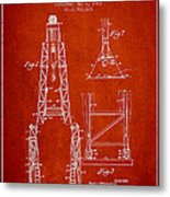 Well Drilling Apparatus Patent From 1960 - Red Metal Print