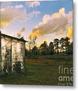 Old Well House And Golden Clouds Metal Print