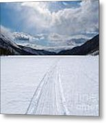 Well Used Winter Trail On Frozen Mountain Lake Metal Print