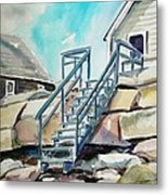 Wells Beach Beach Stairs Metal Print by Scott Nelson