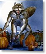 Werewolf With Pumpkins Metal Print