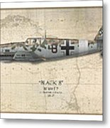 Werner Schroer Messerschmitt Bf-109 - Map Background Metal Print