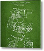 Wesson Hobbs Revolver Patent Drawing From 1899 - Green Metal Print