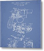 Wesson Hobbs Revolver Patent Drawing From 1899 - Light Blue Metal Print
