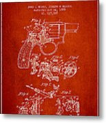 Wesson Hobbs Revolver Patent Drawing From 1899 - Red Metal Print