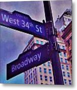 West 34th And Broadway Metal Print