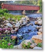 West Cornwall Covered Bridge Summer Metal Print