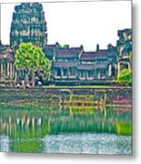 West Gallery From Across Moat In Angkor Wat In Angkor Wat Archeological Park Near Siem Reap-cambodia Metal Print