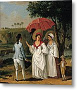 West Indian Landscape With Figures Promenading Before A Stream Metal Print