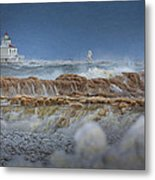 West Pierhead In Ice Metal Print
