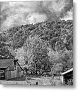West Virginia Barns Monochrome Metal Print