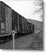 Westbound Train Black And White Metal Print