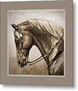 Western Horse Aged Photo Fx Sepia Pillow Metal Print