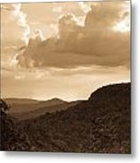 Western Mountain Scene In Sepia Metal Print
