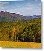 Western North Carolina Horses And Mountains Panorama Metal Print