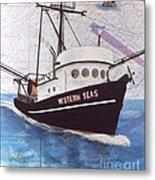 Western Seas Trawl Fishing Boat Nautical Chart Art Metal Print