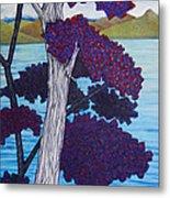 Western Skink On Tree Next To Lake Metal Print