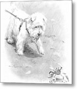 Westie On Beach Pencil Portrait  Metal Print