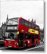 Westminster And Red Bus Metal Print