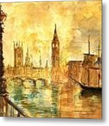 Westminster Palace London Thames Metal Print