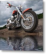 Wet And Wild - Harley Screamin' Eagle Reflection Metal Print