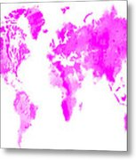 Wet Paint World Map Metal Print