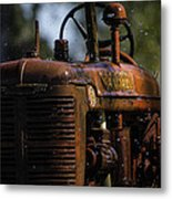 Wet Red Tractor Metal Print