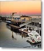 Wharf #2 In Monterey At Sunset Metal Print