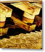 Wharf Reflections In Brown Metal Print