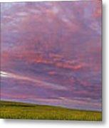 Wheat Field Sunset Panorama Metal Print