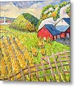 Wheat Harvest Kamouraska Quebec Metal Print by Patricia Eyre