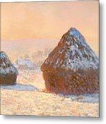 Wheat Stacks - Snow Effect Morning Metal Print
