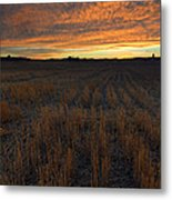 Wheat Stubble Sunset Metal Print by Mike  Dawson