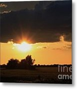 Wheatfield Sunset With Cloud's And Tree's Metal Print