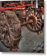 Wheels Of Old Steam Wagon Metal Print
