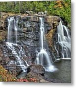 When Light And Water Falls-2a Three Cascades Over Blackwater Falls State Park Wv Autumn Mid-morning Metal Print