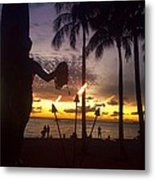 When The Night Come Sunset At The Beach Metal Print