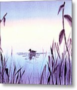 When The Sky Melts With Water A Peaceful Pond Metal Print