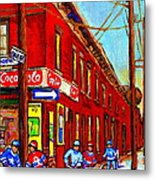 When We Were Young - Hockey Game At Piche's - Montreal Memories Of Goosevillage Metal Print