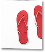 Where On Earth Is Spring - My Red Flip Flops Are Waiting Metal Print by Andee Design