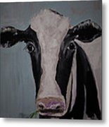 Whimisical Holstein Cow Original Painting On Canvas Metal Print