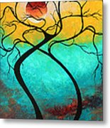Whimsical Abstract Tree Landscape With Moon Twisting Love IIi By Megan Duncanson Metal Print