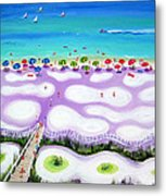 Whimsical Beach Umbrellas - Seashore Metal Print