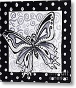 Whimsical Black And White Butterfly Original Painting Decorative Contemporary Art By Madart Studios Metal Print